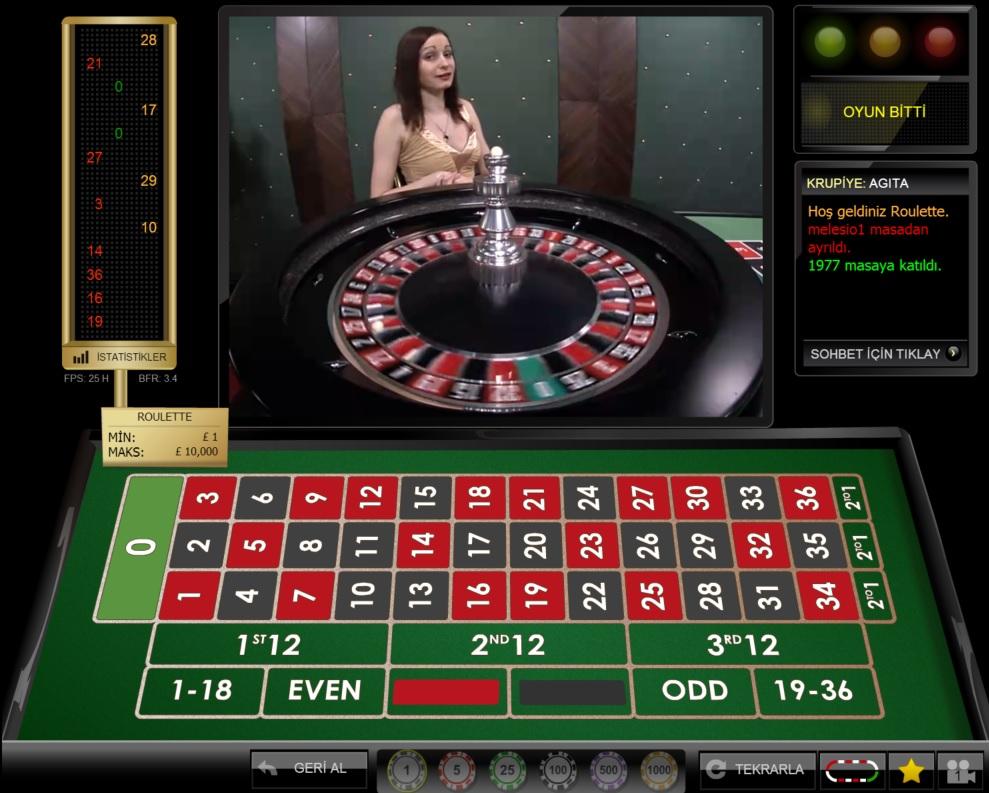 Youwin Canlı Casino Rulet Masası