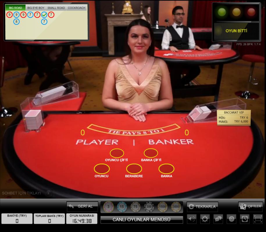 Hiperbet Canlı Casino Bakara Masası